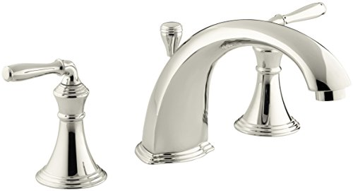 KOHLER K-T387-4-SN Devonshire Deck-/Rim-Mount Bath Faucet Trim for High-Flow Valve with Diverter Spout and Lever Handles, Vibrant Polished Nickel ()