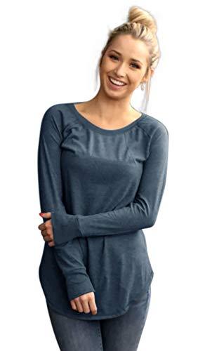 Wenseny Womens Tops Long Sleeve T Shirts Boat Neck Plain Casual Shirts Slim Fit Basic Tunics Blouses Light Grey L