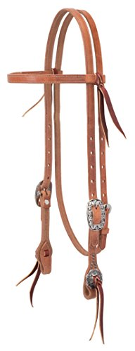 Weaver Leather Buttered Premium Harness Leather Browband Headstall, Floral Hardware