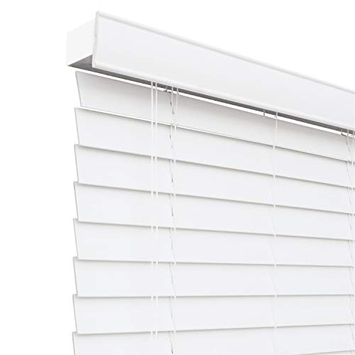 CHICOLOGY Custom-Made 2-Inch Faux Wood Blind, Simply White/Horizontal Window Shade/Inside Mount, 27.5″ W X 36″ H