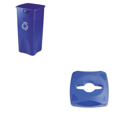 KITRCP1788374RCP356973BE - Value Kit - Rubbermaid Untouchable Single Stream Recycling Top (RCP1788374) and Rubbermaid Blue Untouchable Square Recycling Container, 23 Gallon (RCP356973BE) by Rubbermaid