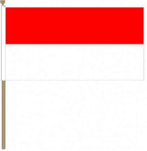 Flagmania® 12 Stück Monaco 30,5 x 45,7 cm große Handwinkel-Flaggen + 59 mm Button Badge
