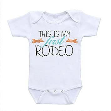 1f33313ff9 Amazon.com : This Is My First Rodeo funny baby onesies cute rompers one  piece bodysuits cheap affordable infant clothing (6-9 Months) (newborn(0-3  Months)) ...
