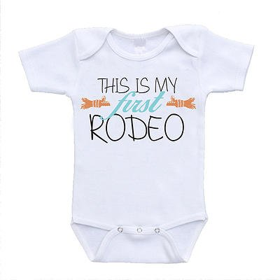 This Is My First Rodeo funny baby onesies cute rompers one piece bodysuits cheap affordable infant clothing (6-9 Months) (12 Months)]()
