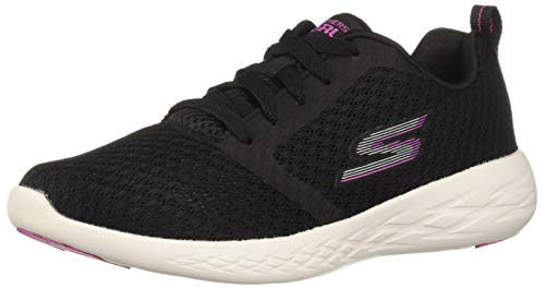 Skechers Women's GO Run 600-CIRCULATE Sneaker, Black/Pink, 5 M US