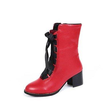 LFNLYX Mujer-Plataforma-Botas Anfibias-Botas-Vestido / Casual-Cuero-Negro / Amarillo / Rojo / Beige Black