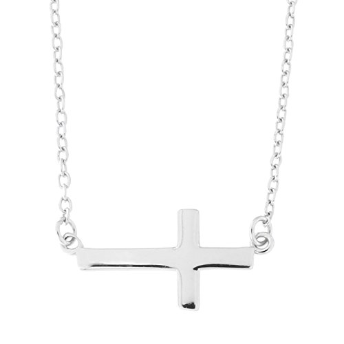 Silver Plated Solid Cross - Beauniq Solid Sterling Silver Rhodium Plated Sideways Cross Pendant Necklace, 16