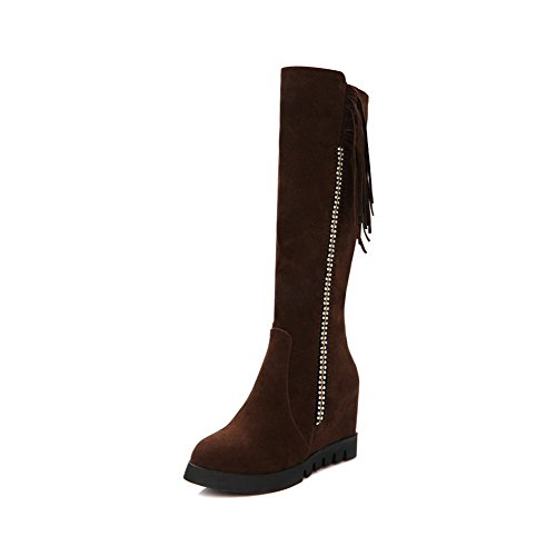 AgooLar Women's Zipper High-Heels Imitated Suede Solid High-Top Boots Brown