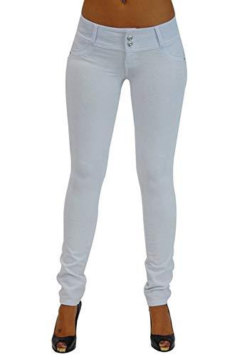Vosujotis La Mujer Denim Jeans Alto Wasit Skinny Slim Bolsillo Pantalones Largos Blanco