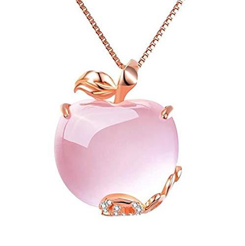 (Windoson Crystal Apple Pendant Necklace Plated Rhinestones Decorated Swarovski Element Crystal Women (Pink))