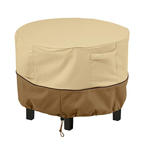 Classic Accessories Pebble/Bark/Earth Veranda Round Patio Ottoman/Coffee Table Durable and Water Resistant Outdoor Furniture Cover, X-Small (55-999-361501-00)