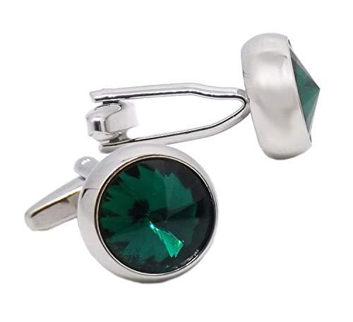 Cufflinks Direct Emerald Green Simple Swarovski Crystal Mens Gift Cuff Links (Cufflinks with Gift Bag)