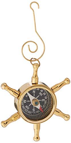 Hampton Nautical  Brass Ship Wheel Compass Nautical Christmas Tree Ornament - Nautical Christmas Tree Decoration