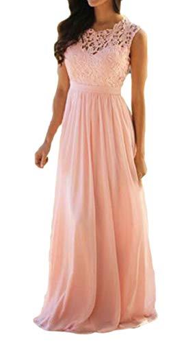 Pink Maxi Chiffon Wedding Evening Floral Vintage Jaycargogo Dress Bridesmaid Lace Women's FqIX8v