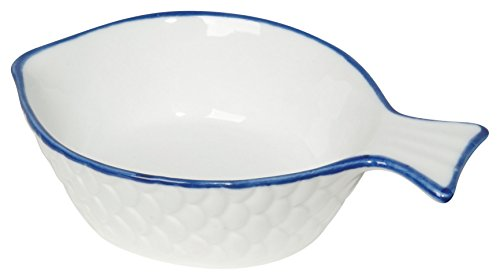 Cocktail Fish Bowls - Now Designs Fish Shaped Dipper Bowl, White, Set of 2