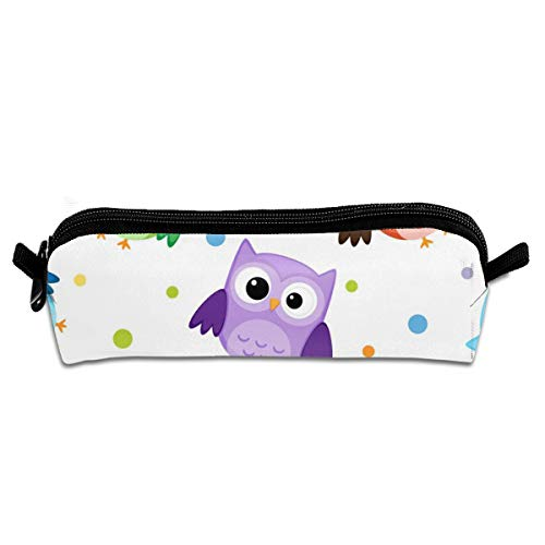 Kui Ju Pencil Bag Pen Case Owl Cute Pink Cosmetic Pouch Students Stationery Bag Zipper Organizer