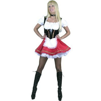 German Beer Garden Girl Costume (Beer Garden Girl Adult Costume Red - X-Small)