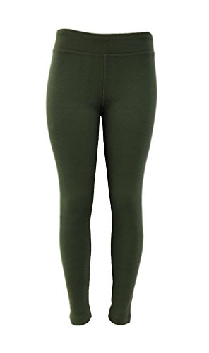 Cotton Rib Leggings - LADIES - Cotton Spandex Rib Knit Legging Pant (Medium, Dark Green)