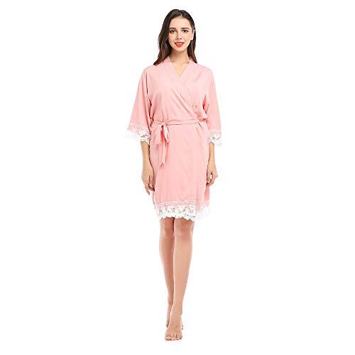 missfashion Womens Kimono Robe Knee-Length Solid Cotton Lace Trim Bride Bridesmaid Bridal Robes for Women Wedding Party Light Pink