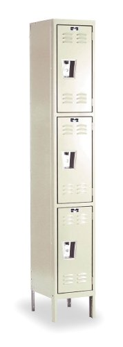Hallowell U1288-3G-A-PT Galvanite Parchment Steel Rust Resistant Locker, 1 Wide with 3 Opening, Triple Tier, 12
