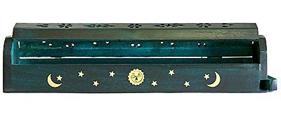 Wooden Coffin Incense Burner - Green Sun and Moon 12