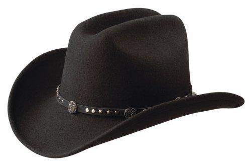 Jack Daniels Men's Daniel's Studded Concho Wool Felt Crushable Cowboy Hat Black Large