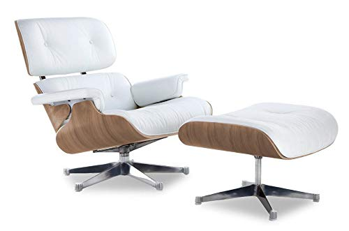 Soho Modern Style Replica Lounge Chair - White Leather, Walnut Wood, Premium Reproduction, Mid-Century Modern Furniture (Italian Leather, Chrome Base)