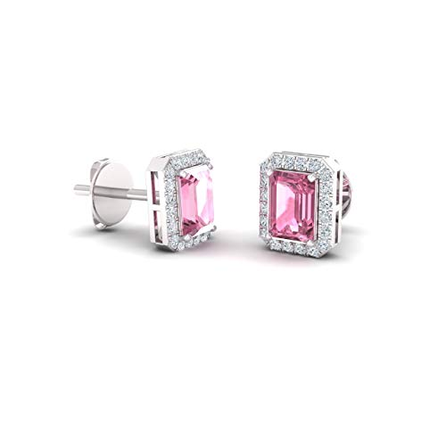 Tourmaline White Gold Stud - Diamondere Natural and Certified Pink Tourmaline and Diamond Petite Stud Earrings in 14K White Gold | 0.67 Carat Halo Earrings for Women