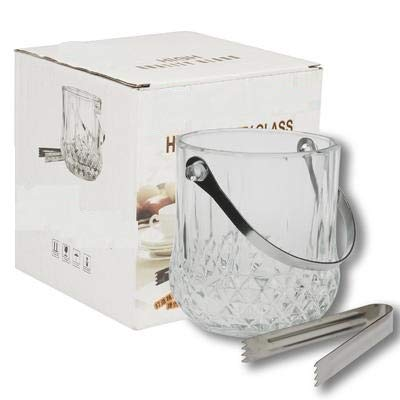 Ice Bucket with Handle and Tongs Diamond Cut Glass