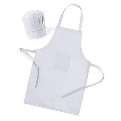 a8e3631444c DISOK Lote de 25 Delantales + Gorros de Cocina Infantiles para Niños  Blancos - Delantales Niños