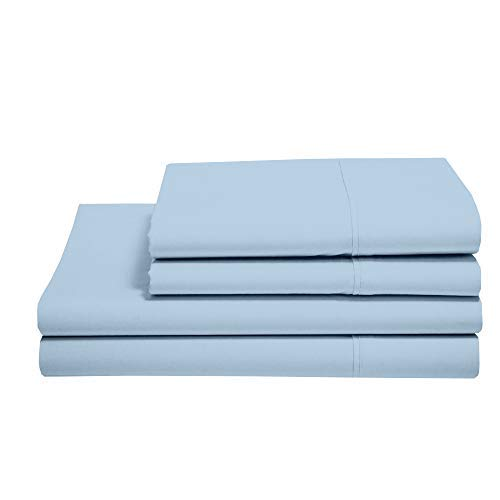 (100% Cotton Sheets - Real 800 Thread Count 4 Piece Bed Sheet Set - Soft & Smooth Hotel Luxury 4pc Sheet Set Solid 15 inches Deep Pocket (Twin, Light Blue Solid))