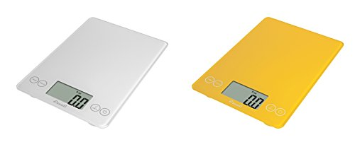 Escali Arti Glass Kitchen Scale, 15 Lb / 7 Kg - Crisp White and Solar Yellow, Set of 2 by Escali