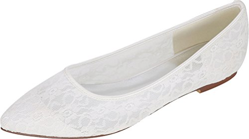 Bride Wedding 14E Salabobo Dress White Toe Ladies Work Comfort Bridesmaid Pumps Comfort Flats Pointed Party 2046 Mesh Prom zFIFq8