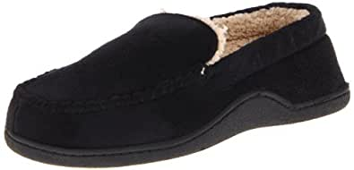 Isotoner Men's Slip-Onsherpa Lining Slippers, Black, XX-Large