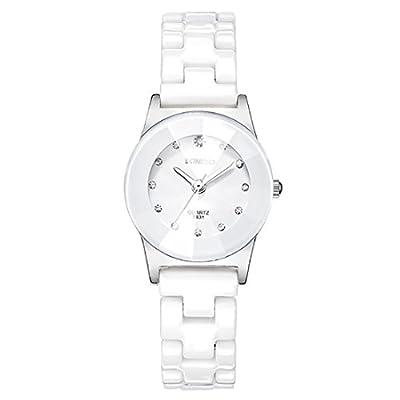 Souarts Men Women Analog Quartz Rhinestones White Case Ceramic Strap Couple Wrist Watch for Lady