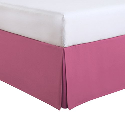 Pink Twin Dust Ruffle (Fresh Ideas Kids Twin Bed Skirt - Lux Hotel Tailored Microfiber Bedskirt, Classic 14