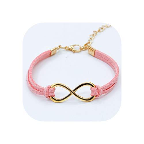 European Punk Fashion Vintage Infinity 8 Cross Leather Bracelets for Women Gift Bangles Men Jewelry pulseras,Pink