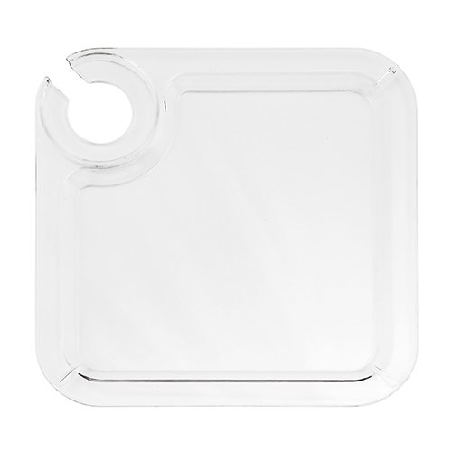 Acrylic Buffet Plate 8'' with Built in Wine Stem Holder - Reusable - Set of 12 - (Buffet With Wine Holder)