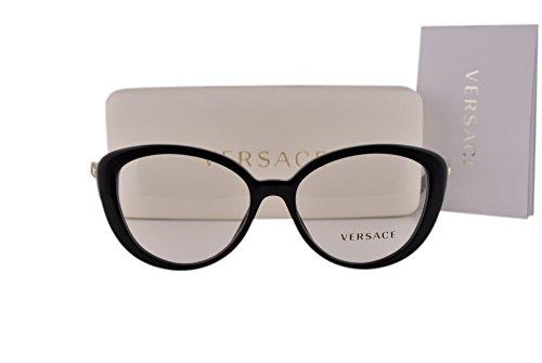 Versace VE3229 Eyeglasses 52-16-140 Black w/Clear Lens GB1 VE - Sale Versace Glasses For
