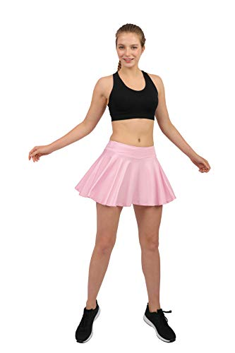 (Women's Tennis Golf Skorts Workout Built-in Shorts Fitness Pleated Active Running Skirts Light Pink )