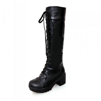Heart&M Mujer Zapatos PU Otoño Invierno Confort Botas Tacón Robusto Dedo redondo Con Para Casual Blanco Negro white