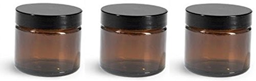 1 oz Amber Glass Jars with Black Twist Lined Lid with Spatula [Pack of 3]