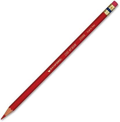 PRISMACOLOR COL-ERASE Pencil, Erasable Colored Pencils № 1297, 12 Pack, Scarlet Red (20066)