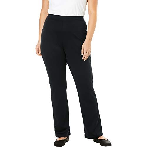Woman Within Women's Plus Size Tall Bootcut Ponte Stretch Knit Pant - Black, 18 T
