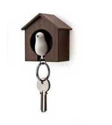 Birdhouse Key Ring - Brown House with White Bird