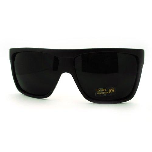 SUPER Dark Black Lens Sunglasses Flat Top Square - Flat Black Mens Sunglasses