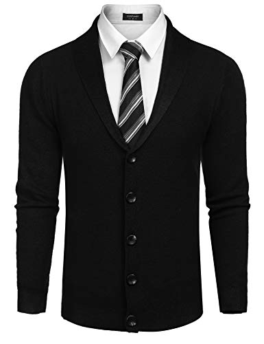 COOFANDY Men's Slim Fit Shawl Collar Cardigan Sweater Casual Long Sleeve Button Down Knitted Cardigan Overcoat, Black, Medium