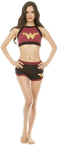 Underboss Womens Wonder Woman Cotton Blend Halter Bralette and Shorts Set ()
