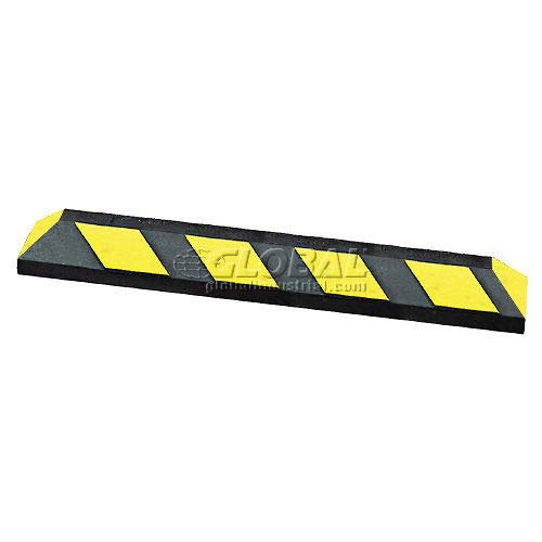 72'' Rubber Parking Curb, Black with Yellow Stripes (16101)