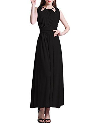 Damen Kleid Ärmellos Maxikleid Falten Kleid ALinie Kleid Einfarbig ...